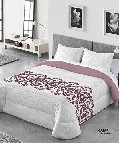Comforter Kabely Qatar Ropa de Cama, Poliéster, Burdeos, 180x270x3 cm