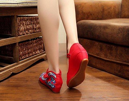 DESY Scarpe ricamate, suola a tendina, stile etnico, scarpe da donna, moda, comodo, casual all'interno dell'aumento Red