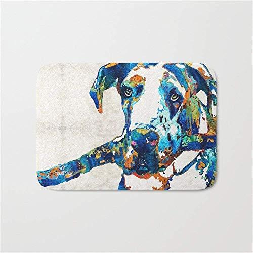 Queekinwang great dane art - stick with me - by sharon cummings door bath mat 23.6