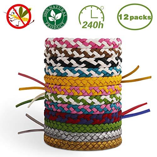 T98 Mückenschutz Armband, Mückenarmbänder Mücken Armband 100% natürlicher Pflanzenextrakt 12 Stück Moskito Armband Geeignet für Erwachsene und Kinder für Camping Klettern Schlafzimmer Grillen