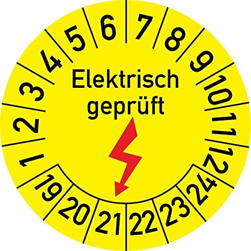 Elektrisch geprüft Prüfplakette, 100 Stück, in verschiedenen Größen, Prüfetikett Prüfsiegel Plakette Elektroprüfung (20 mm Ø)
