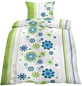 2 tlg. Biber Baumwolle Winter Bettwäsche ,135x200 + 80x80 in grün - weiss - blau /Blumen Blüten Muster mit Reissverschuß / Winterbettwäsche Home-Impression