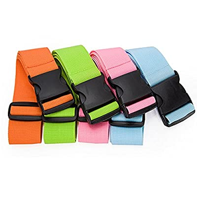 "CSTOM Luggage Straps Suitcase Belts Travel Bag Accessories 2M 78""- 1/2/4 Pieces Green Blue Orange Pink"