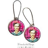 orecchini, Frida Khalo cabochon, fushia e colore turchese, piccole stelle turchese, Messico, ritratto di donna, cabochon in resina epossidica
