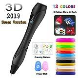 3D Stifte Set【Neueste Version 2019】Ein kompletter Satz von 12 Farben mit E-book,3D Pen Kompatibel mit PLA und ABS,3D stift Set für Kinder und Erwachsene kritzeleien, Malerei und kreatives Geschenk