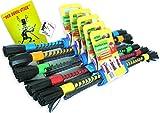 Bravo Sticks / Flowerstick Set: Handstäbe, Schulter-Tasche, Trick-Lern Fibel, Fan-Sticker (Grün)