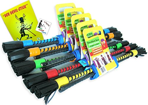 Bravo Sticks / Flowerstick Set: Handstäbe, Schulter-Tasche, Trick-Lern Fibel, Fan-Sticker (Weiß)