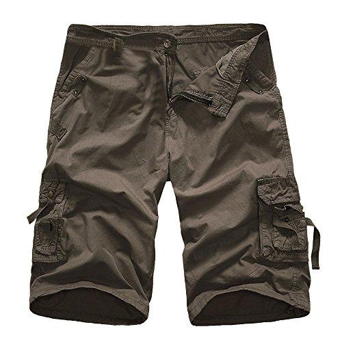 JYJM Herren Fashion Solid Color Short Männer Multi Pocket Shorts Männer Outdoor Sport Overalls beiläufige Männer fünf Hosen Männer Strand Shorts Herren Trend Gürtel Shorts Herren Arbeitshosen - 5-pocket-leder-jeans