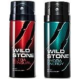 Wild Stone Mens Deodorant Ultra Sensual And Hydra Energy Combo Pack 2 (150 ML)