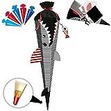 alles-meine GmbH BASTELSET - 3D Effekt - Schultüte + 5 kleine Zuckertüten -  Fisch - Hai Happen - Fische  - 85 cm - mit Holzspitze - Filzabschluß - Zuckertüte - incl. Rohlin..
