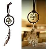 chiccharming Boho clave cadena de metal borlas de plumas de atrapador de sueños llavero casa coche adorno decoración