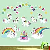 decalmile Unicorno Adesivi da Parete Arcobaleno Adesivi Murali Camera da Letto delle Ragazze Bambino Asilo Nido Bambini Decorazione Murale