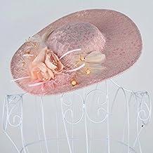 Novia estudio foto tocado encajes de lino sombrero de plumas de color rosa adornos de pelo vestido de novia accesorios