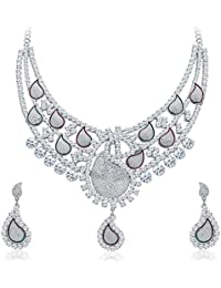 Sukkhi Stunning Rhodium Plated AD Necklace Set For Women