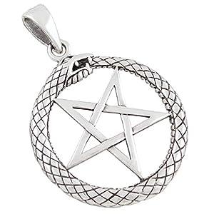 AFP Anhänger Pentagramm und Schlange 925 Sterling Silber AS-610