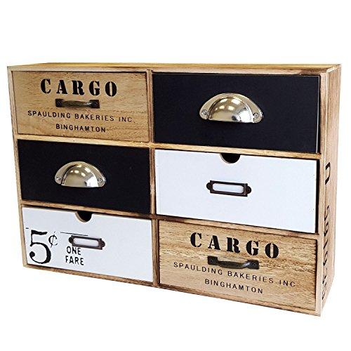 Cajón Armario con 6cajones, MDF, Vintage, 44,5x 30x 12cm/cajones Caja, Madera Mueble, cómoda Armario Armario baño Armario