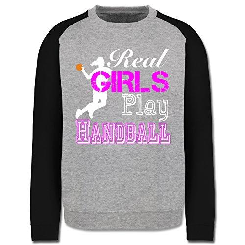 Handball - Real Girls Play Handball weiß - Herren Baseball Pullover Grau  Meliert/Schwarz