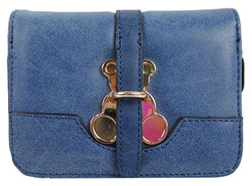 Kukubird Patta Deployante Con Trifoglio Fascino Dettaglio Medio Ladies Borsa Clutch Wallet Blue