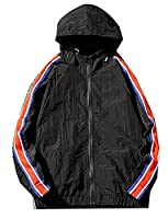 Fulok Men's Full Zip Outer Windbreakers Hooded Jackets Small Black