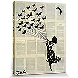 Loui Jover - Mujer Con Mariposas Cuadro, Lienzo Montado Sobre Bastidor (50 x 40cm)