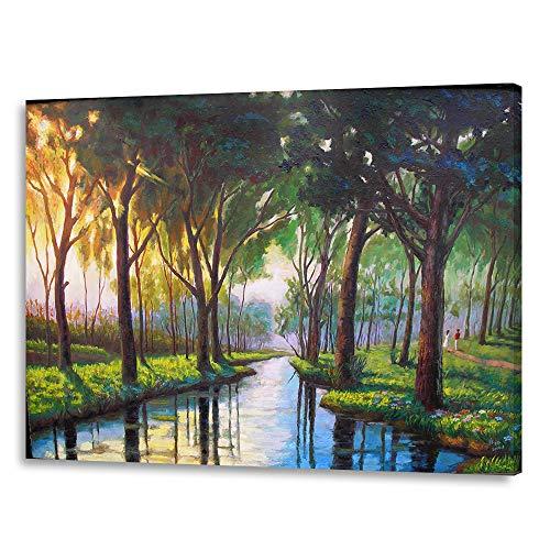 LIUDAO Malen Nach Zahlen-Kits mit Pinsel und Acryl Pigment für Erwachsene Anfänger, Manhattan Gemälde auf Leinwand 40,6x 50,8cm (rahmenlose) Wooden Framed Jungle Creek