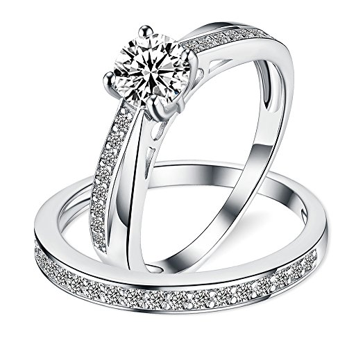 Sreema London 925 Sterling Silver Solitaire Tapering Migraine Women's Wedding Engagement Promise Ring Set with Box (50 (15.9)) (Ring Platinum Sets Wedding)