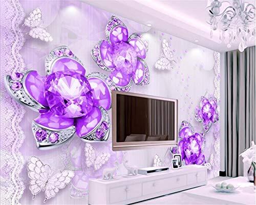 MuralXW Tapetenwandbild 3D Tapete Klassische 3D Tapete edle wunderschöne lila Schmuck Blumen 3D TV Hintergrund Wand-200x140cm