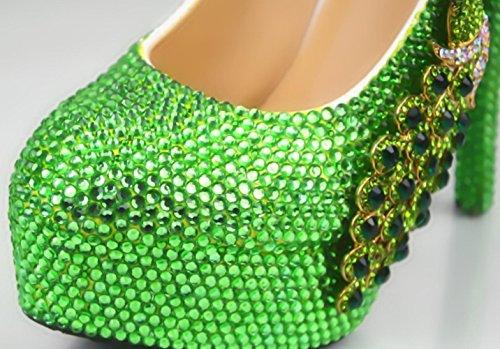 YCMDM Femmes De Grande Taille Vert Diamant Phoenix Ronde Haute Talons Chaussures Talons Fines Chaussures De Mariage 11cm