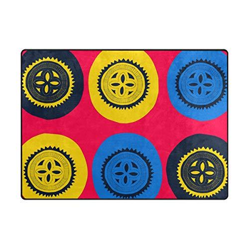 MONTOJ Bunte abstrakte Kreise Schlammkratzer für Schuhe, Wohnzimmer, Schlafzimmer, Heimdekoration, Teppich, Polyester, 1, 63 x 48 inch -