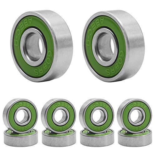 Qpower 20 Stück Skateboard Lager, 608 ABEC-9 High Speed Abgriffsicher Skating Stahl Rad Roller, Prec (grün)