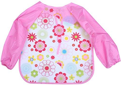 Happy Cherry Baby Wasserdichte Schürze mit Ärmeln Abwaschbar Kinder Malschürze Malkittel Cartoon Drucken ÄrmelLätzchen Baby Unisex Bibs Lätzchen 1-4 Jahre Alt
