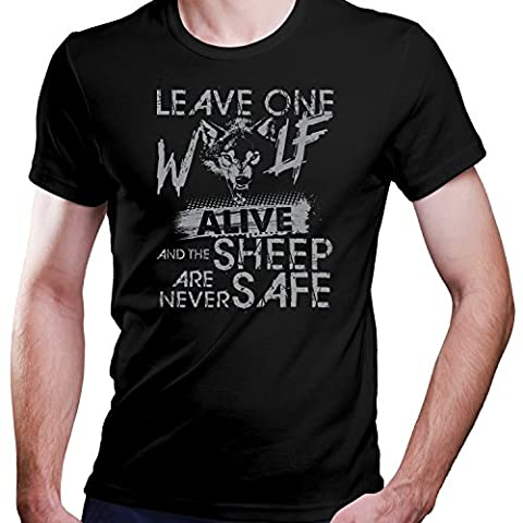 GOT / Leave one Wolf alive and the Sheep are never safe / T-Shirt Größe XS-4XL / Perfektes Geschenk (XXXXL, Grau-Print S)