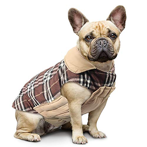 Haustier Hund Plaid Jacke Hoodie Mantel Pullover Schneefest Kleidung Herbst Winter Kleidung Warm Gepolsterte Wendeauflage Apparel Weste Kleidung Hunde mantel Brustschutz für Hunde (L,Braun)