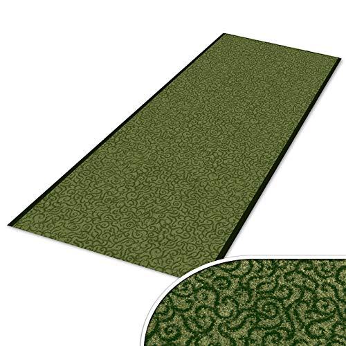 Schmutzfangläufer mit Schnörkelmuster   viele Längen   Qualitätsprodukt aus Deutschland   als Flurläufer, Küchenläufer, Teppichläufer etc.   Läufer in Grün (90 x 250 cm)