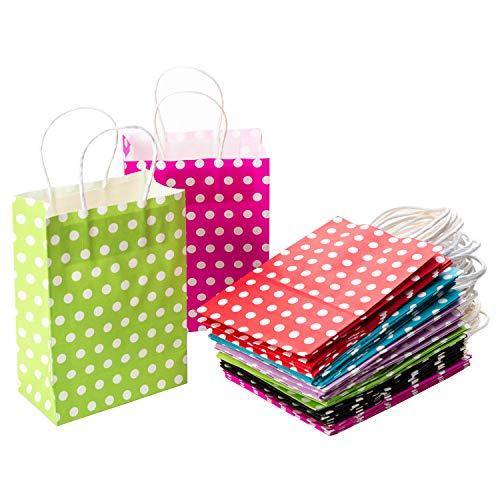 CozofLuv 30 Stück Geschenktüten Geschenktaschen Präsenttüten Papiertüten Papiertaschen Papier Tragetaschen Papiertüte Tüten mit Griff Kordel Henkel Polka Dots Motiv (15 * 8 * 21cm)