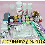 Beauties Factory Kit per la Nail Art Acrilico Polvere Liquido Colore Rosa Bianco Set Principianti immagine