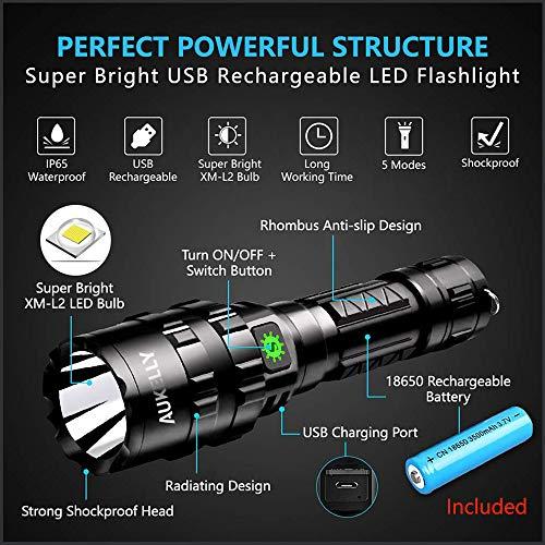 AUKELLY LED Linterna Recargable USB Linternas XML- L2 Tactica Linterna Alta Potencia, con 5 Modos, Alta Potencia LED Linternas Camping,  Linterna LED Recargable Linterna para Ciclismo,  Con 18650 Batería