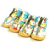 Feidaeu Pet 4 Pezzi/Set Scarpe da Cane Caldo Stivali mimetici Anti-Scivolo Scarpe Impermeabili per Piccoli Cani Cucciolo Scarpe Protezione Zampa