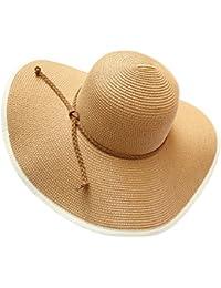 EEVASS Donne Di Estate Grande Tesa Larga Pieghevole Floscio Cappello Della  Spiaggia del Cappello di Paglia f2c7639db2f8