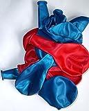 Sachsen Versand 50 blau-rot-metallic-Luft-Ballons glänzend-metall-Feier-Deco-Geburtstag-Fete-Helium-geeignet EU Ware