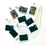 Kratzbild- Schlüsselanhänger - Regenbogenfarbe - scratch art für Kinder zum Basteln (6 Stück)