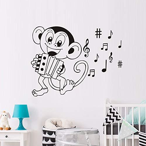 Akkordeon-mädchen (Wandaufkleber Mädchen Akkordeon Affe DIY Notizen Geschnitzte Vinyl Cartoon Aufkleber 45X59 CM)