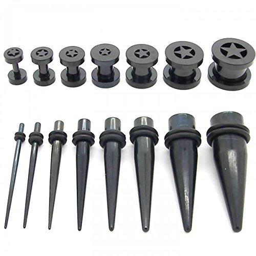 1 Set Tunnel Estensore Plug Piercing Orecchio Tappo e 1 Set Stretching Dilatatori Taper 1,6 - 10 mm Colore