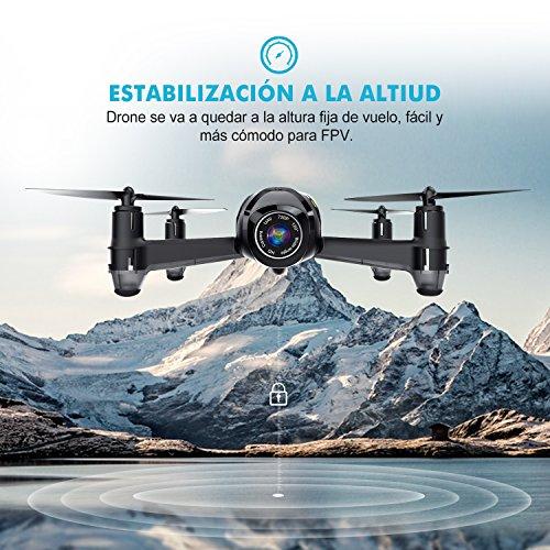 Potensic Drone U36W con Maleta Telecamera WiFi FPV 2.4Ghz Drone con Control Remoto Función de Estabilización Altitud Alarma de Fuera Límite de Vuelo con SD Tarjeta 4G