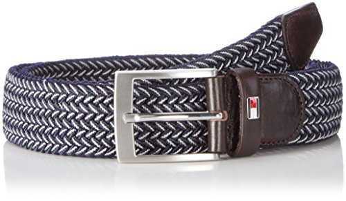 Tommy Hilfiger Adan Two Tone Belt 3.5, Cintura Uomo, Blu (Tommy Navy/Ivory), 105 cm (Taglia Produttore: 105)