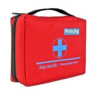 iProtecting 119 pezzi kit di pronto soccorso,cassetta pronto soccorso-Perfetto per l'utilizzo in auto, in casa, per il camping, la caccia, in viaggio o per lo sport. Dimensioni compatte