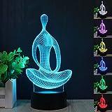 Neuheit Meditation Yoga 3D Illusion Lampe führte Nacht Licht mit 7 Farben blinken & Touch-schalter USB-Stromversorgung Schlafzimmer Licht Schreibtischlampe Lampen für Kinder Geburtstag Geschenke Haus Dekoration