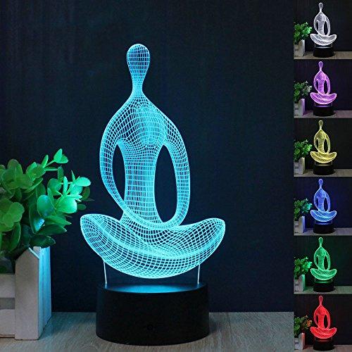 FZAI Acrylique 7 Couleur Méditation Yoga Chambre LED Veilleuse de Chambre Lampe Salon Lumières Bureau Table Décoration Nuit Lumière