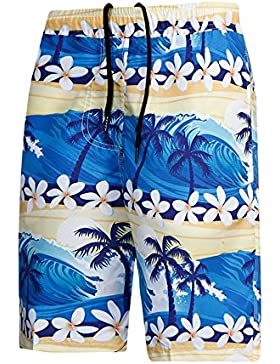Zgsjbmh Flores de Secado Rápido Coconut Tree Loose Men's Beach Pants (Tamaño : Metro)