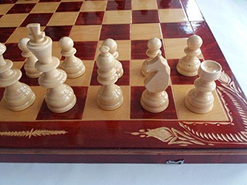 Neu groß gigant Holz spezielle Schachspiel handgefertigt 59 x 59 cm Schachbrett Kasten Bordeaux Luxus Edition Holz Schachfiguren Geschenk